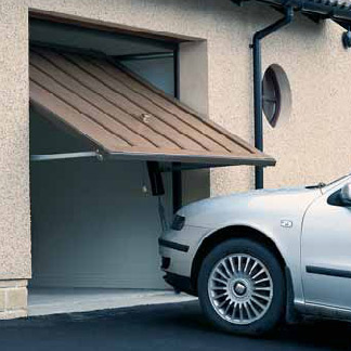 timber up and over canopy garage door small driveway car
