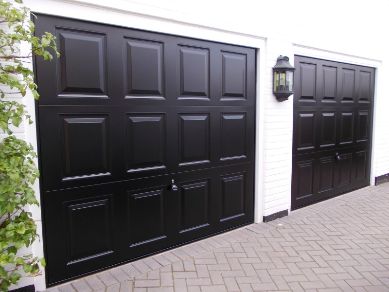 Garador Georgian steel up and over doors in black finish