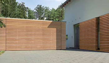 Hormann sectional garage door with timber slatted effect