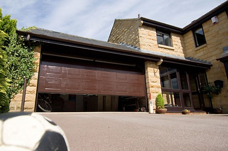 Novoferm sectional garage door in brown finish