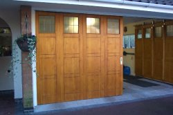 Rundum timber garage door with routed design