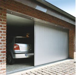 Vertico round the corner aluminium door. Remote control operated
