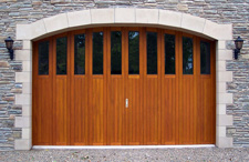 rundum side sectional timber garage door with windows in arched opening