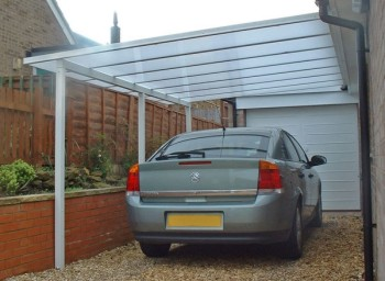 Self supporting car ports in aluminium