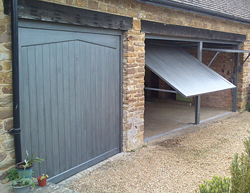 timber garage doors on a triple garage