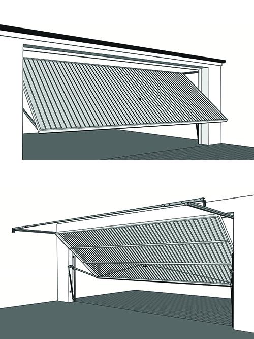 Double width up and over garage door with retractable mechanism