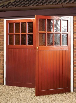 glazed traditional side hinged door design in GRP