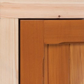 softwood timber frame next to a cedar door panel