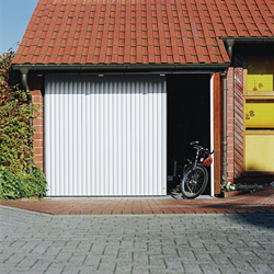 aluminium round the corner garage door with pedestrian foot access