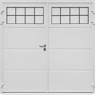 Solid ribbed horizontal side hinged design with mock-leaded windows