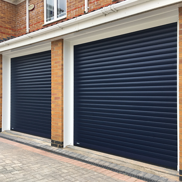 Pair of Blue SeceuroGlide roller doors