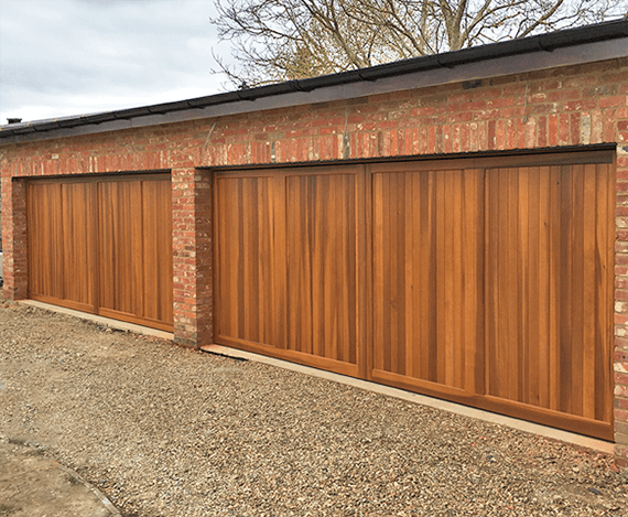 Two double sized Chalfont timber up and over garage doors