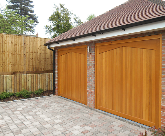 Two Woodrite up and over installations by The Garage Door Centre