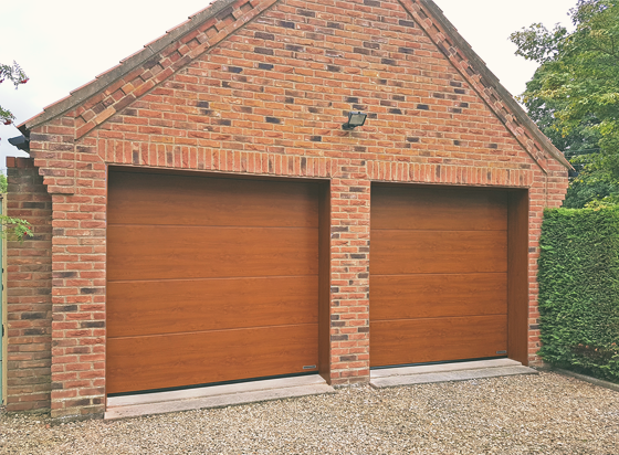 Hormann Sectional Garage Door with Woodgrain finish