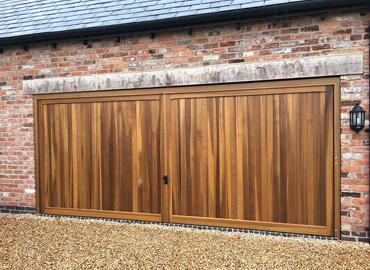 Double width timber up and over garage door