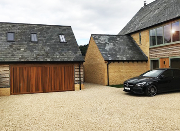Double timber up and over garage doors