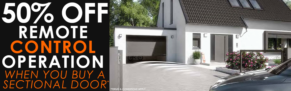 50% off electric operation for our range of sectional garage doors
