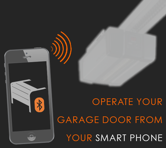 Bluetooth operation of garage door from smart device
