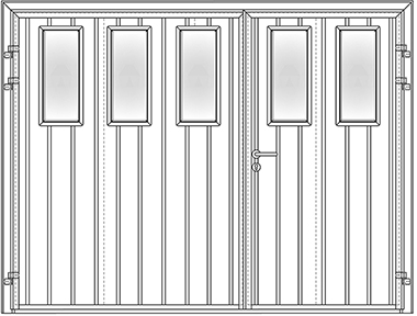 Standard Ribbed vertical 50/50 with multiple square window designs - Carteck side hinged garage doors