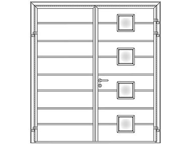 Centre Rib horizontal design with four square windows - Carteck Side Hinged Garage Doors