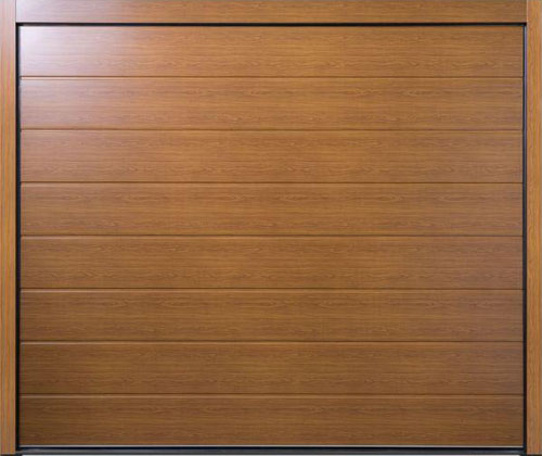 Carteck Centre Ribbed Wood Design Steel Sectional Garage Door