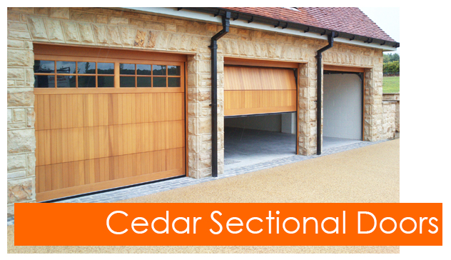 Cedar timber sectional garage doors