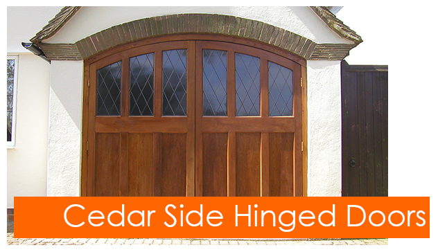 Cedar side hinged garage doors