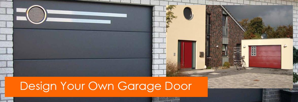 Designer garage doors with matching garage and entrance for Design my own garage