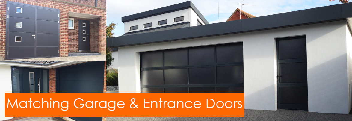 Designer Garage Doors With Matching Garage And Entrance Doors The