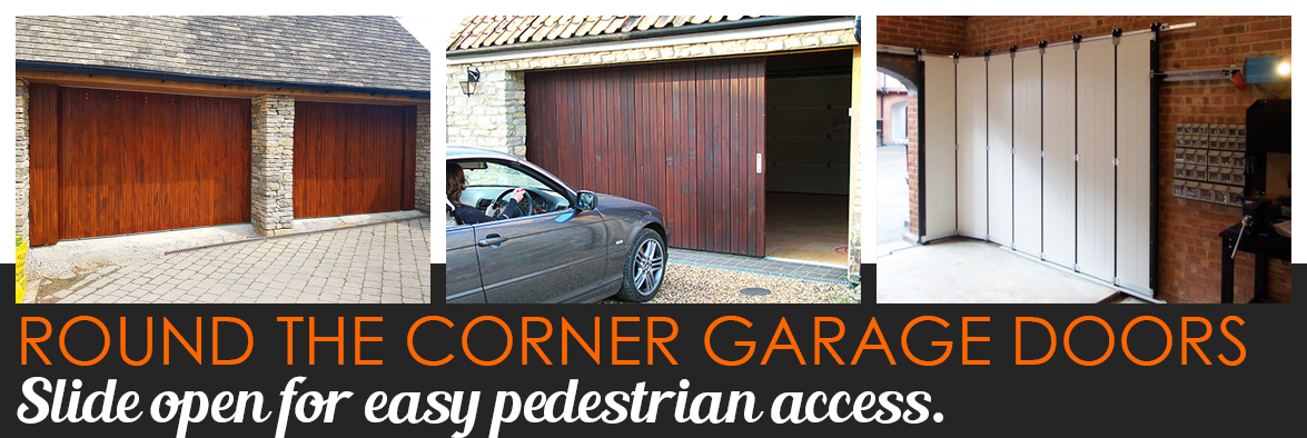 Round the Corner garage doors with pedestrian access