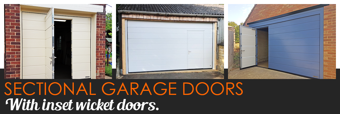 Sectional garage doors with wicket door
