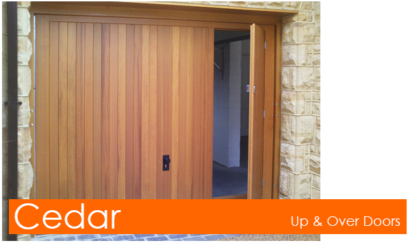 Cedar Up and Over Doors with Pedestrian Doors