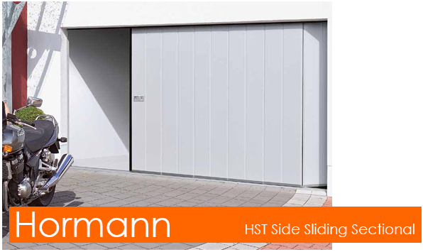 Hormann HST Side Sliding Sectional Garage Door for pedestrian access