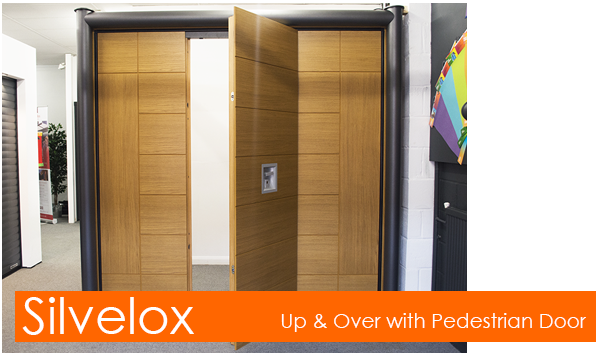 Silvelox up and over garage door with built-in pedestrian door