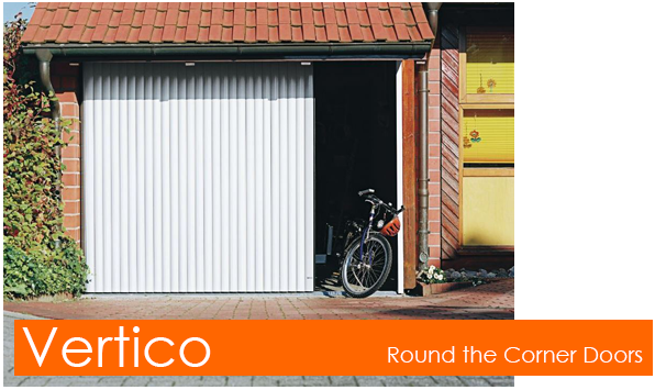 Vertico Round the Corner Garage Door for easy pedestrian access