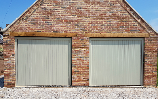 Woodrite Up and Over Garage Doors in Heritage Colour Pebble Grey