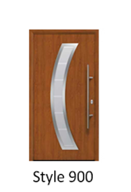 Hormann Thermopro TPS 900 steel front entrance house door with crescent panel insert glazing element