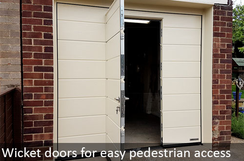 Hormann wicket doors in sectional garage doors for easy access