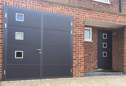 Matching Side Hinged Garage and Entrance Doors