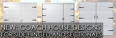 New Coach House Designs for Carteck Side Hinged and Sectional Garage Doors