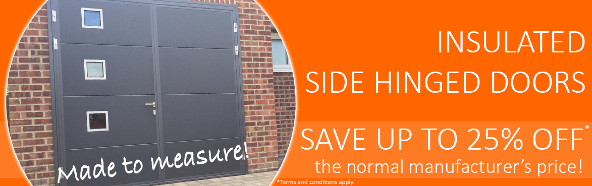 Insulated side hinged garage doors up to 25% off at The Garage Door Centre