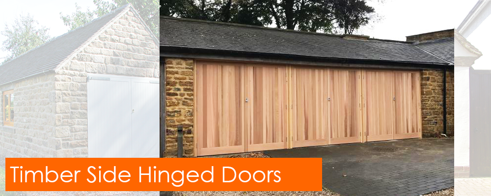 Period style timber side hinged garage doors
