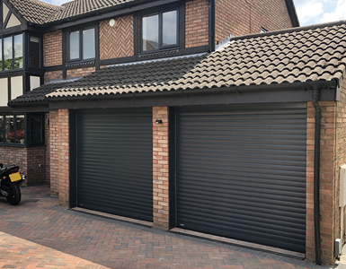 Electric aluminium roller shutter garage Door in Black