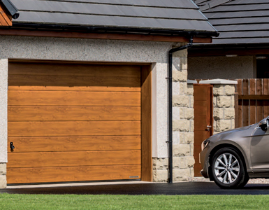 Sectional Garage Door with wood effect finish