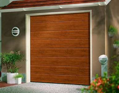 Single Skin Sectional Garage Door - timber effect