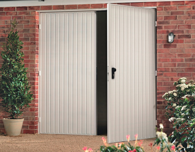 Single Skin Side Hinged Garage Door in White