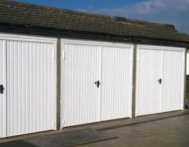 Steel Side Hinged Garage Doors in White