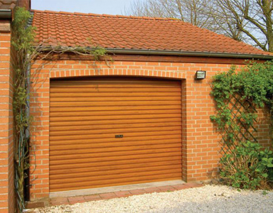 Single Skin, Steel Roller Garage Door - Wood effect finish
