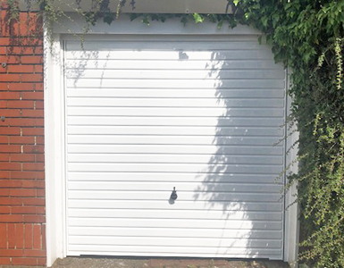 Up and Over Garage Door Horizontally Ribbed in White