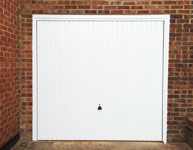 Vertically Ribbed Up and Over Garage Door in White